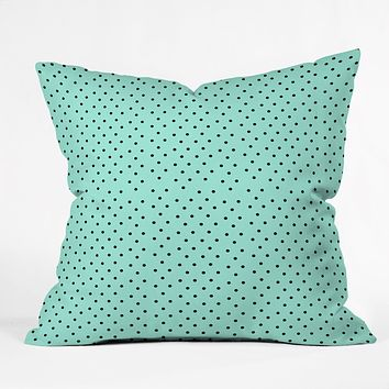 Allyson Johnson Minty Blue Polka Dots Throw Pillow
