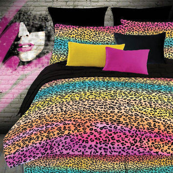 Veratex Hotel Indoor Bedroom Decorative Designer Duvet Accessories Rainbow Leopard Comforter Set Twin Multi