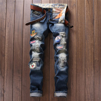 Ripped Holes Vintage Men Jeans [9892501955]