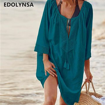 Women Swimsuit Cover Ups Sexy Kaftan Beach Tunic Dress 2018 Summer Robe De Plage Solid Cotton Pareo Beach Cover Up #Q363