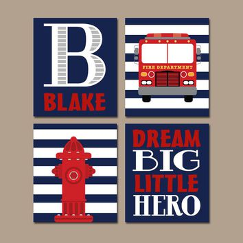 FIRE TRUCK Wall Art, Fire Truck Decor, CANVAS or Prints, Fireman Fire Truck Birthday, Big Boy Bedroom, Dream Big Little Hero, Set of 4