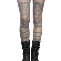 Lace Stripe Open Knit Tights | Wet Seal
