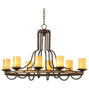 Kalco Lighting 6098TP-2/CALC Durango Eight-Light Rectangular Chandelier