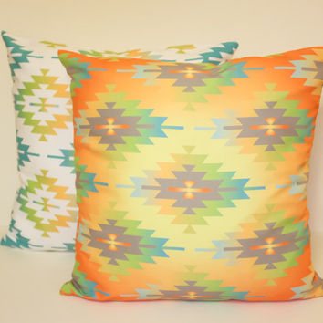 Aztec Pillow, Tribal Pillow Cover, Mexican Style Accent Pillow, Various Size Pillowcase, Colourful Pillow, Beach Pillow, Throw & Toss Pillow