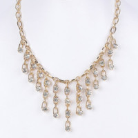 Star Drop Crystal Statement Necklace