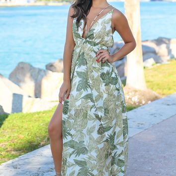 Green Printed Maxi Dress with Strappy Back