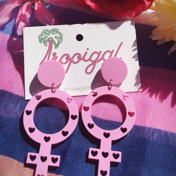The original Tropigal - Female Gender Symbol Stud Earrings. Fruitella Grape Pastel Pink, RIOT GRRRL, FEMINIST