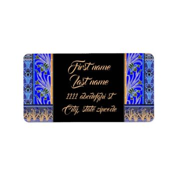 Art nouveau black and purple iris return address label