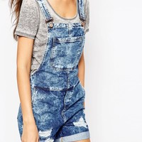 Noisy May Tall Denim Dungaree Short