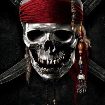 Pirates Of The Caribbean Skull Logo movie poster Sign 8in x 12in