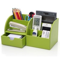 Multi-Functional Leather Storage Office Desk Organizer Pen Business Cards Sticky Notes Office Sundries Finishing Business Office