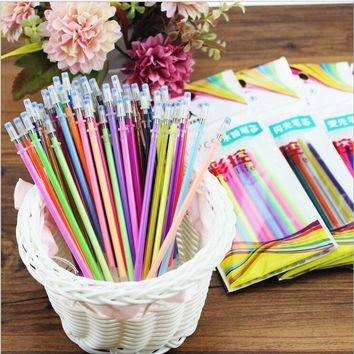 12pcs/lot Colorful Gel Pen Refills Highlighters Gel Pen Ballpoint Pen Refill Students Painting Graffiti Fluorescent Refill
