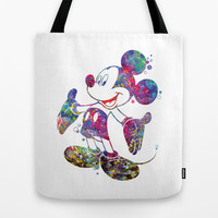 Mickey Mouse Watercolor Tote Bag by Bitter Moon