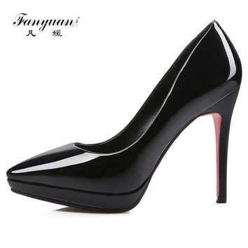 Fanyuan 2018 Women pumps Fashion candy color High heels single shoes female Spring Summer patent leather wedding party shoes