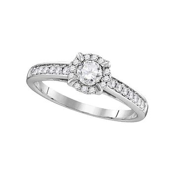 14kt White Gold Women's Round Diamond Solitaire Bridal Wedding Engagement Ring 5/8 Cttw - FREE Shipping (US/CAN)