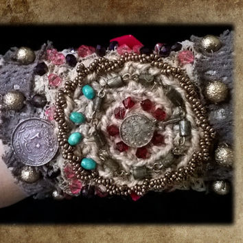 Belly Dance Bracelet , Hand Beaded Gypsy Boho Cuff, Tribal Fusion Accessory