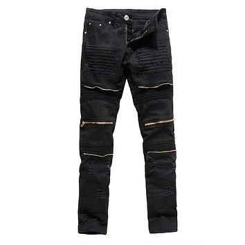 Mens black ripped jeans skinny slim fit multi metal zipper design jeans 2017 fashion hip hop rock trousers stretch pencil pants