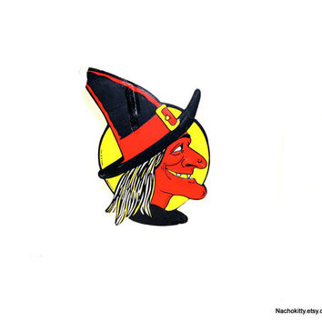 1940s Beistle's / Luhrs Halloween Witch Vintage Die Cut Decoration