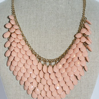 Peach Layered Bead Necklace