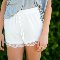 Bianco Lace Trim Shorts