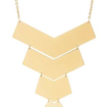 Tiered Chevron Bib Necklace by Charlotte Russe - Gold
