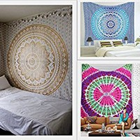 Future Handmade Wholesale Pack Of 3 Large Queen Size Tapestries Mandala Tapestry Wholesale Indian Printed Bed Sheet Tapestries Bohemian Home Decoration Ombre Tapestry Bedspread (PACK 3)