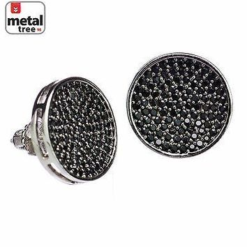 Jewelry Kay style Men's XXL Flat Caved Round CZ Micro Pave Setting Screw Back Earrings 951 1S