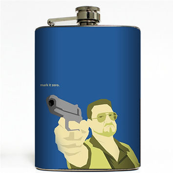 Mark it Zero Stainless Steel 8oz Hip Flask The Dude Lebowski Walter Quote Bowling