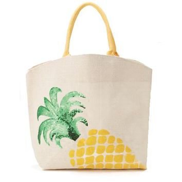 Palm Beach Expressions Sequin Icon Jute Tote Bag - Pineapple