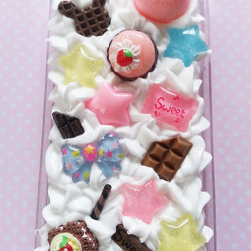 Cute kawaii deco/decoden iphone 4 case whipped cream, mixed theme, pink blue chocolate glitter