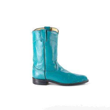 Turquoise Cowboy Boots Leather Mid Calf Roy Cooper Aqua Western Flat Boots Women's Size 7