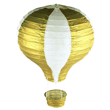 Striped Paper Hot Air Balloon Hanging Decor, 15-Inch, Gold