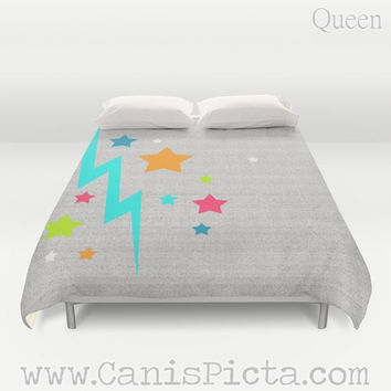 "Duvet Cover ""Stacy Starshine"" QUEEN KING size Bedroom Room Decor Decorative Chartreuse Hot Pink Teal Blue Neon Orange Stars Lightening Bolt"