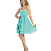 2014 Prom Dresses - Mint Chiffon Flower Strapless Dress