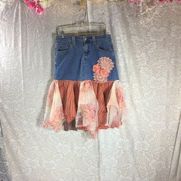 5 Jr Orange Fairy Denim Jean Festival Rustic Skirt / Upcycled Shabby Chic Romantic Skirt / Prairie Skirt / Gypsy Skirt /  By Tattered Fx