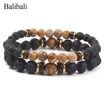 Balibali Distance Couple Bracelet for Women Men Fashion Natural Black Lava Stone Mala Beads Bracelets Meditation Yoga Jewelry