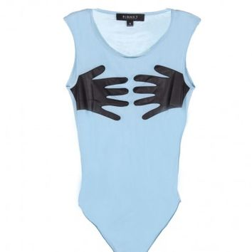 MESH FAUX LEATHER HANDS BODYSUIT