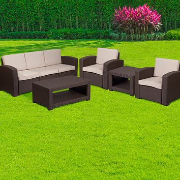 5 Piece Outdoor Faux Rattan Chair Sofa and Table Set
