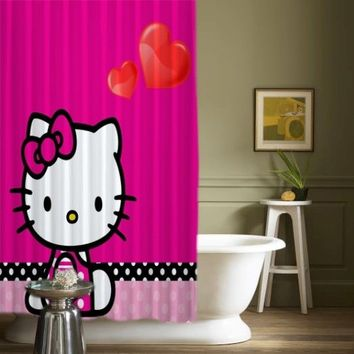 """New Hello Kitty Love Pink Best Design High Quality Shower Curtains 60"""" x 72"""""""