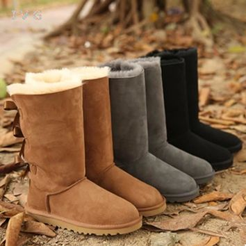 2017 Australia Classic Bailey Bow Tall Snow Boots ugs Women's winter boots Warm Leather Boots Brand IVG size 5-10 free shipping