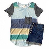 NEW! Blue and Green Color Block Tie Dye Top