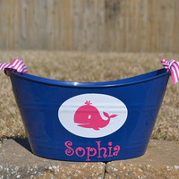 Preppy whale party bucket/ tub