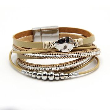 2018  Leather Bracelet For Men Women Vintage Multiple Layers Simulated Pearl Acrylic Cuff Bracelets Feminino Jewelry
