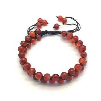 Natural Stone Bead Bracelets Carnelian Jewelry Wire Cord Rope Pave Bracelet Hand Made Knotted Extensive Good Quality