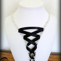 Chain corset necklace with black satin ribbon by Arthlin on Etsy
