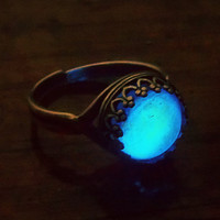 Moonstone -  Silver Plated Glow in the Dark Ring