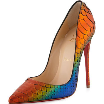 Christian Louboutin So Kate Parrot Python Red Sole Pump