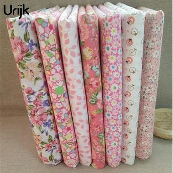 Urijk 7Pcs/Lot 25*25cm Mixed Flower Pink DIY Sewing Accessories Fabric For Patchwork Sewing Cloth Fabric Textile Doll