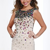 Stoned High Neckline Short Prom Dress Hannah S 27871