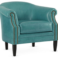 Hyde Leather Barrel Chair, Turquoise